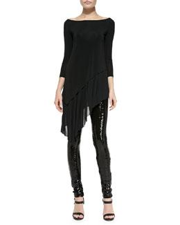 3/4-Sleeve Asymmetric-Hem Tunic & Sequined-Front Skinny Pants
