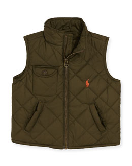 Ralph Lauren Childrenswear Diamond-Quilted Vest, Olive