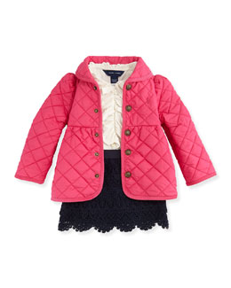 Ralph Lauren Childrenswear Quilted Barn Jacket, Ruffled Knit Blouse & Tiered Lace Skirt