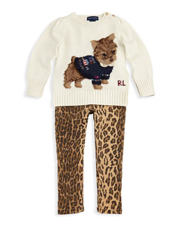 Ralph Lauren Childrenswear Intarsia-Knit Dog Sweater & Ocelot-Print Skinny Jeans