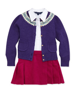Ralph Lauren Childrenswear Fair Isle Yoke Cardigan, Ruffled Broadcloth Shirt & Corduroy Kilt