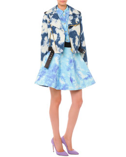 Bleached Cloud-Print Moto Jacket, Short-Sleeve Tie Dye Blouse & Tie Dye Pouf Skirt