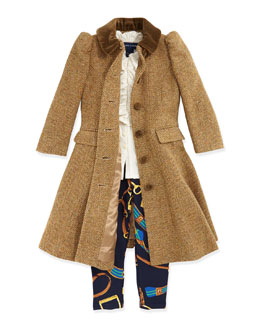 Ralph Lauren Childrenswear Herringbone Tweed Coat, Ruffled Knit Blouse & Bridle-Print Leggings