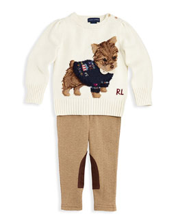 Ralph Lauren Childrenswear Intarsia-Knit Dog Sweater & Herringbone-Tweed Jodhpur Leggings