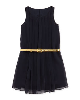 Ralph Lauren Childrenswear Sleeveless Pleated Chiffon Dress