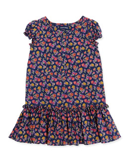 Ralph Lauren Childrenswear Floral-Print Chiffon Drop-Waist Dress