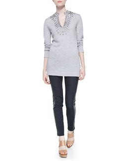 Tory Burch Marin Beaded Wool Tunic & Harlow Leather-Side Slim Jeans