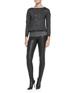 Alice + Olivia Celie V-Neck Sparkly Pullover & Lamb Leather Leggings