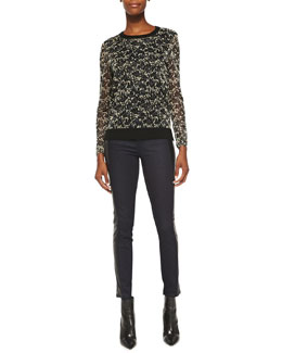 Tory Burch Hounor Jacquard & Wool Sweater & Harlow Leather-Side Slim Jeans