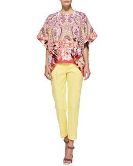 Etro Flutter-Sleeve Paisley/Floral Jacket, Blouse & Cuffed Cigarette Capri Pants