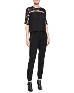 Rebecca Taylor Silk Sequined Cutout-Detail Top & Knit Pull-On Pants