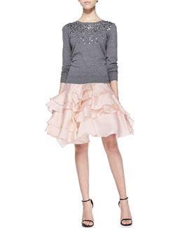 Milly Rhinestone Degrade Pullover & Tara Tiered Ruffle Skirt
