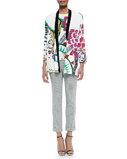 Petal-Print Stretch-Silk Cardigan, Petal-Print Stretch-Silk Top & Cuffed Micro Geo-Print Capri Pants