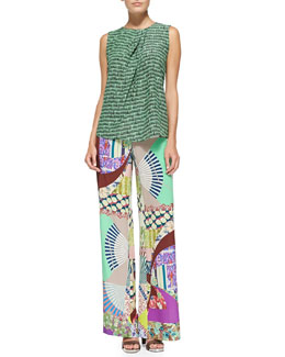 Sleeveless Ink-Print Top W/ Pleated Neck & Wide-Leg Silk Patch-Print Pants