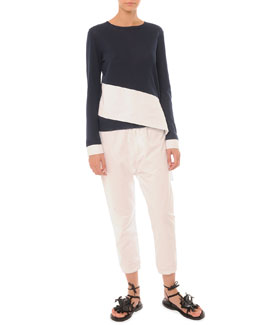 Asymmetric Colorblock Crew Sweater and Elastic Ankle Pants