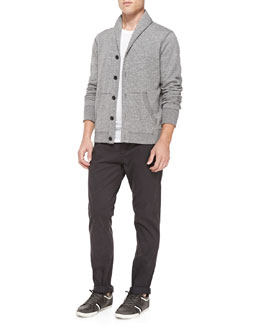 Shawl-Collar Cardigan W/ Elbow Patches & Four-Pocket Relaxed Trousers