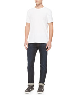 Short-Sleeve Perfect Jersey Tee & Relaxed-Leg Denim Jeans