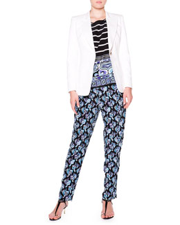 Twill Golden-Button Blazer, Border-Trim Boat-Neck Blouse & Silk Printed Pants