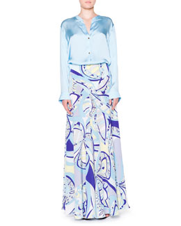 Emilio Pucci Silk Banded-Collar Blouse & Geometric-Print Maxi Skirt