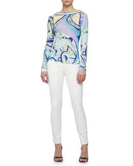 Scoop-Back Geometric-Print Shirt & Slim-Leg Pants