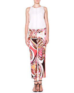 Sleeveless Top W/ Printed Back & Cropped Flat-Front Printed Pants