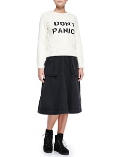 Don't Panic! Crewneck Sweater & Tea-Length Cargo Skirt