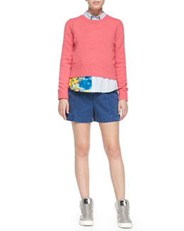 Iris Crewneck Sweater, Candy Stripe Shirting Button-Down & Classic Cotton Pleated Shorts