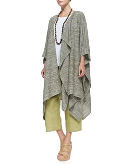 Long Draped Asymmetric Jacket, Sleeveless A-Line Shell, Coco Rajado Single Necklace & Fine-Knit Japanese Trousers