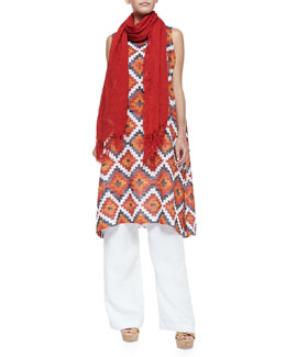 Scarf with Wavy Fringe/Tribal-Print Tunic Dress W/ Side Pleats & Wide-Leg Drawstring Pants
