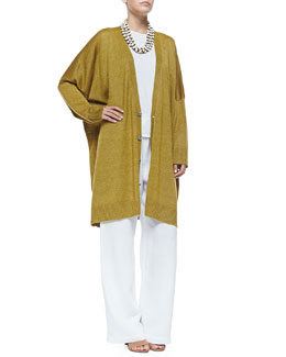 Wide Button-Down Cardigan, Long-Sleeve Double-Edge Knit Top, Wide-Leg Drawstring Pants & 3-Strand Necklace