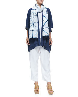 Wide Rolling-Front Tabard, Sleeveless A-Line Shell & Linen Japanese Trousers