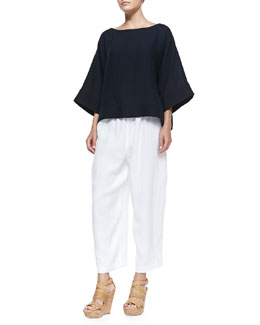3/4-Sleeve Bateau-Neck Tunic & Linen Japanese Trousers