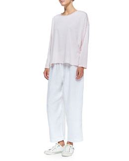 Long-Sleeve Top W/ Double Edges & Linen Japanese Trousers