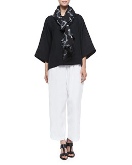 Linen Bateau Tunic with Hem Bands, Shibori Linen Scarf & Linen Japanese Trousers
