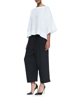 3/4-Sleeve Bateau-Neck Tunic & Fine-Knit Japanese Trousers