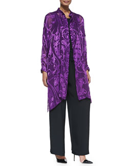 Scroll-Print Shirt with Trapeze Hem & Flared Trousers