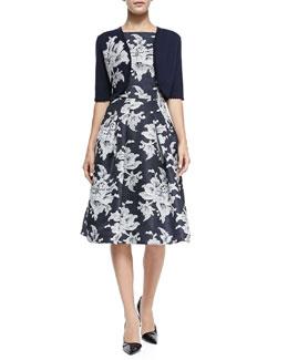 Lace Floral-Applique Knit Bolero & Large Lace-Print Gazaar Cocktail Dress