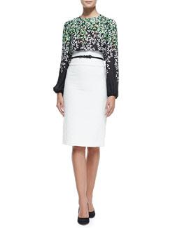 Silk Clover-Print Degrade Blouse, Leather Skinny Belt &  Textured Cotton-Blend Pencil Skirt