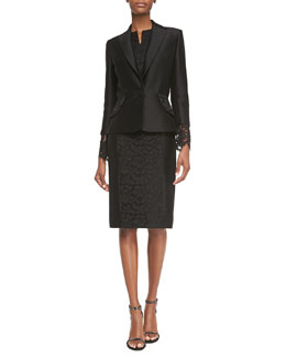 Floral-Lace Cuff Jacket & Floral-Lace Accent Dress, Black