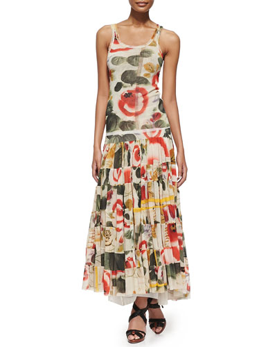 Printed Garden Tank Top and Tiered Skirt