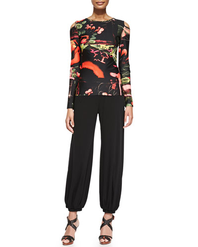 Printed Cold-Shoulder Top and Tulle Genie Pants