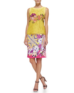 Etro Sleeveless Embroidered Lace Top and Paisley Faux-Wrap Pencil Skirt