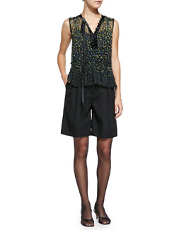 Marc Jacobs Sleeveless Floral Blouse W/ Asymmetric Tie & High-Waist Pleated Wide-Leg Shorts