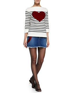 3/4-Sleeve Striped Top & Denim Miniskirt with Heart