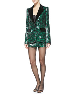 Sequined Leopard Two-Button Jacket & Miniskirt