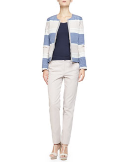 Striped Taffeta Zip Jacket, Stretch Jersey Tank & Stretch Cotton Wide-Cuffed Slim Pants