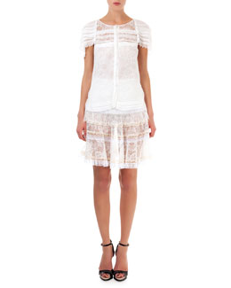 Lace Top with Pearly Trim & Tiered Lace Skirt