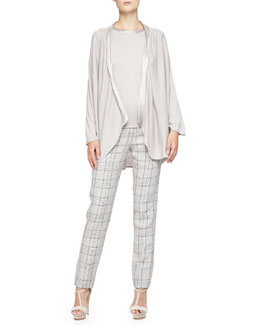 Cashmere Satin-Trim Drape Cardigan, Top & Prince of Wales Wide-Cuff Pants