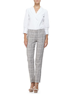 3/4-Sleeve Shawl-Collar Blouse & Prince of Wales Wide-Cuff Pants