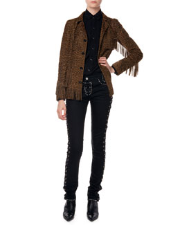 Suede Fringed Leopard-Print Jacket, Twill Snap-Down Army Shirt & Studded Jeans W/ Corset Sides
